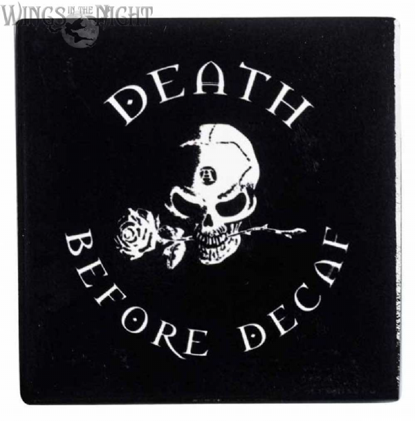 Alchemy Gothic Death Before Decaf Skull Coaster